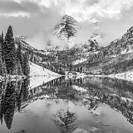 Maroon Bells Bw Mountain Reflections - Aspen Colorado by Gregory Ballos