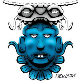 Mayan Blue Mask by Piotr Dulski
