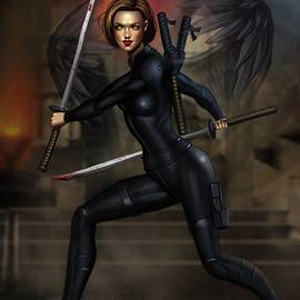 Meghan with Katanas by Robert Ross