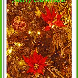 Merry Christmas Greetings with Green and White Border by Marian Bell