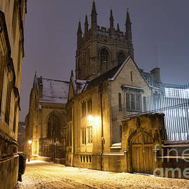Merton Street Oxford In The Snow Before Dawn by Tim Gainey