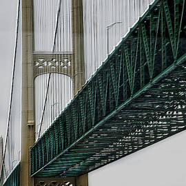 Michigan Mackinac Suspension Bridge Upper Peninsula Boat View SQ Format by Thomas Woolworth