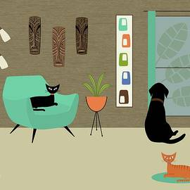 Mid Century Modern Lab In Green by Donna Mibus
