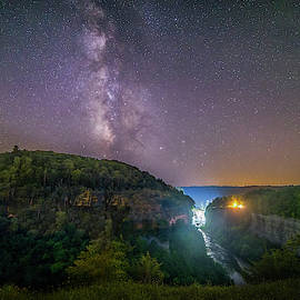 Milky Way Over Middle Falls by Mark Papke