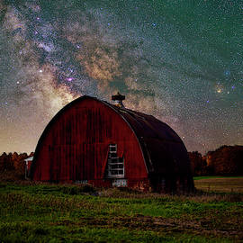 Milky Way over Red Barn by Dustin Goodspeed