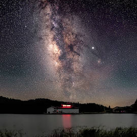 Milky Way over the TianPing Mountain Lake Temple by William Dickman