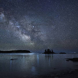Milky Way Panorama At Wallace Cove by Marty Saccone