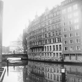Misty City Canal Hamburg Germany Black and White by Carol Japp