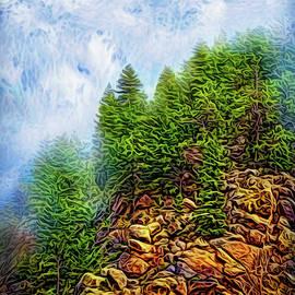 Misty Forest Cliffs by Joel Bruce Wallach