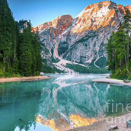 Misty Lake and Snow Cap Mountain Reflections Landscape Photograph