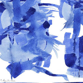 Modern Asian Inspired Abstract Blue And White 4 by Audrey Jeanne Roberts