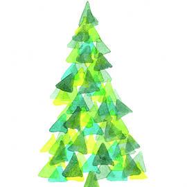 Modern triangle christmas tree watercolor painting by Karen Kaspar