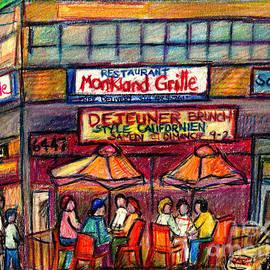 Monkland Grille Montreal Paintings Paris Style Bistro Patio Cafe Scenes Terrace Umbrellas C Spandau by Carole Spandau