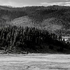 Monochrome Panorama Of Cerro La Jara In Valles Caldera National Preserve Sandoval County New Mexico by Silvio Ligutti