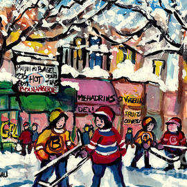 Montreal Art Winterscene Street Hockey Art St Viateur Bagel Falling Snow C Spandau Canadian Artist   by Carole Spandau