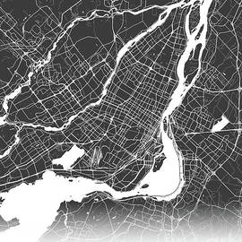 Montreal map black and white by Delphimages Photo Creations
