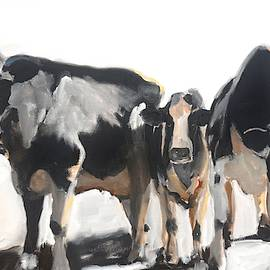 Moo-dy Cows Oil Painting by Donna Tuten