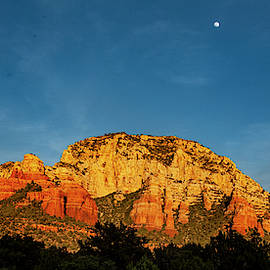 Moon Rise at Sunset Outside of Sedona by S Katz