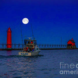 Moonlight Sail at Grand Haven by Nick Zelinsky