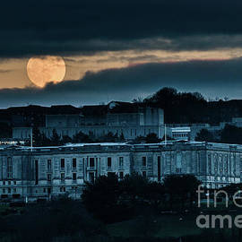 Moonrise Over The National Library Of Wales by Keith Morris