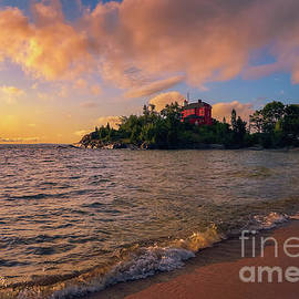 Morning at Marquette Harbor Light 2 by Rachel Cohen