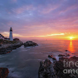 Morning Colors At Portland Head Lighthouse  by Michael Ver Sprill