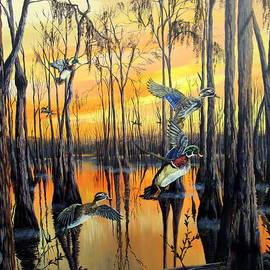 Morning Flight-Wood Ducks by Daniel Butler