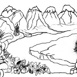 Mountain Floral Scene PAINT MY SKETCH by Delynn Addams