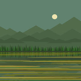 Mountain Lake Moon by Val Arie