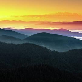 Mountain Layers Sunrise by Leland D Howard
