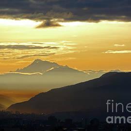 Mt Ausangate and Cusco at Dawn Peru by James Brunker