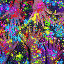 Multicoloured Powder Hands Panoramic by Tim Gainey
