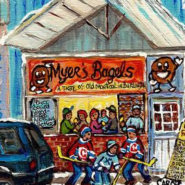 Myer's Bagel Cafe Burlington Vermont Bakery Painting Hockey Art Winter Scene C Spandau Resto Artist by Carole Spandau