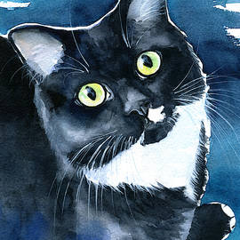 Mystical Marina Fluffy Tuxedo Cat Painting by Dora Hathazi Mendes