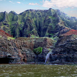 Napali Cave And Waterfall by Rick Lawler
