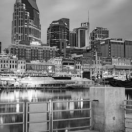 Nashville Skyline From Cumberland River Dock - BW Monochrome by Gregory Ballos