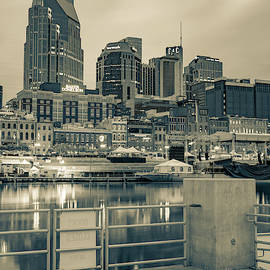 Nashville Tennessee From the Docks of the East Bank in Sepia by Gregory Ballos
