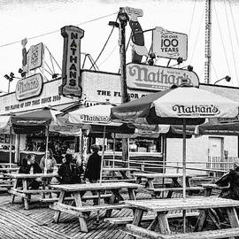 Nathans Famous Frankfurters On The Coney Island Boardwalk Black And White by Kay Brewer
