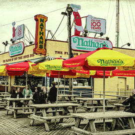 Nathans Famous Frankfurters On The Coney Island Boardwalk by Kay Brewer