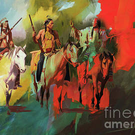 Native American on Horses  by Gull G