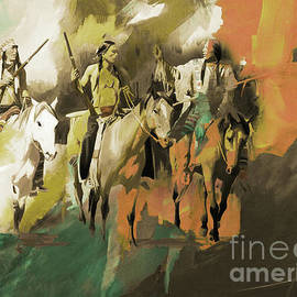 Native Americans On horses art  by Gull G