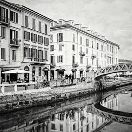 Naviglio Grande Milan Italy Black and White by Carol Japp