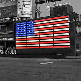 Neon American Flag 2 - Selective Color by Allen Beatty