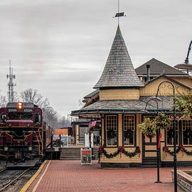 New Hope Train Station At Christmas by Kristia Adams