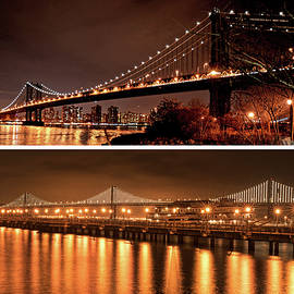 New York Meets San Francisco Manhattan Bridge Bay Bridge by Toby McGuire