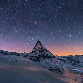 Night Winter Landscape Of Matterhorn by Coolbiere Photograph