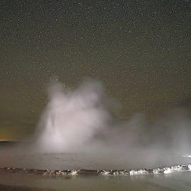 Nighttime At Great Fountain Geyser by Jean Clark