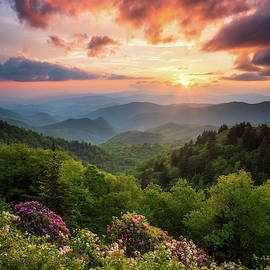 North Carolina Great Smoky Mountains Sunset Landscape Cherokee NC by Dave Allen