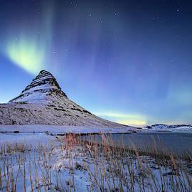 Northern Lights Atop Kirkjufell Iceland by Nathan Bush