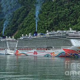 Norwegian Cruise Ships At Skagway Alaska by Robert Bales